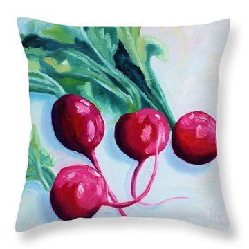 Radishes Throw Pillow by Todd Bandy