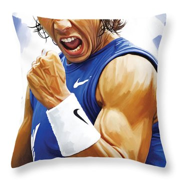 Rafael Nadal Artwork Throw Pillow by Sheraz A