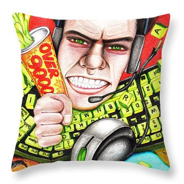 Rage Quit Throw Pillow by Shawna Rowe