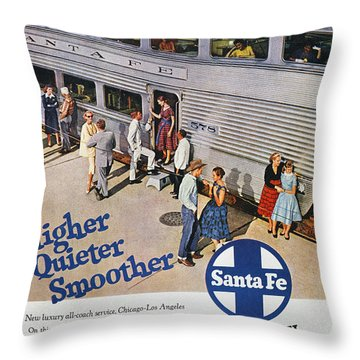Railroad Ad, 1957 Throw Pillow by Granger