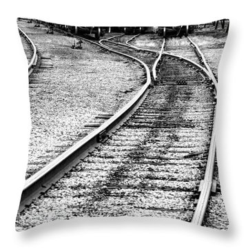 Railroad Yard Throw Pillow by Olivier Le Queinec