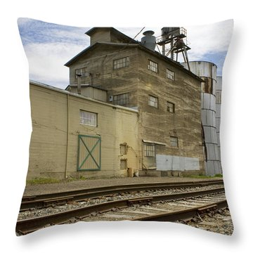 Railway Mill Throw Pillow by Sonya Lang
