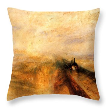 Rain Steam And Speed.  Throw Pillow by J M W Turner