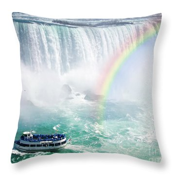 Rainbow And Tourist Boat At Niagara Falls Throw Pillow by Elena Elisseeva