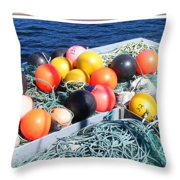 Rainbow Buoys Throw Pillow by Barbara Griffin