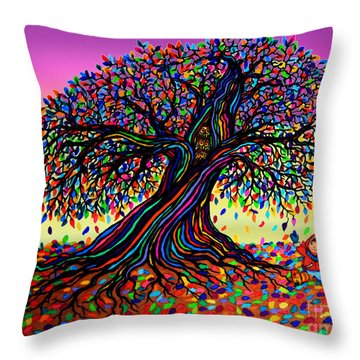 Rainbow Dreams And Falling Leaves Throw Pillow by Nick Gustafson