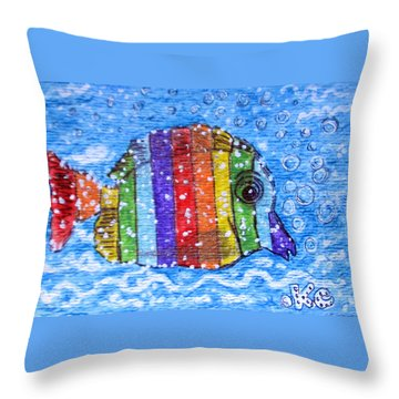 Rainbow Fish Throw Pillow by Kathy Marrs Chandler