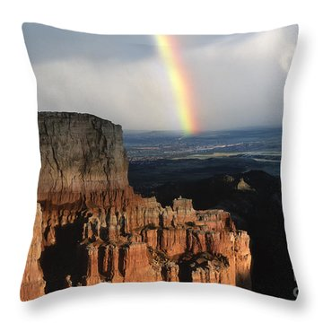 Rainbow Over  Bryce Canyon Throw Pillow by Sandra Bronstein