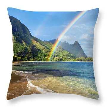 Rainbow Over Haena Beach Throw Pillow by M Swiet Productions