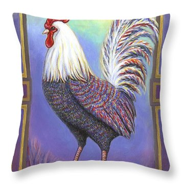 Rainbow Rooster Throw Pillow by Linda Mears
