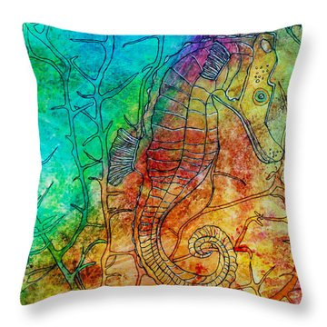Rainbow Seahorse Throw Pillow by Janet Immordino