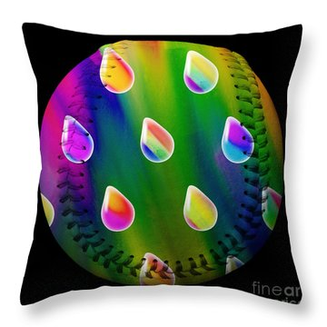 Rainbow Showers Baseball Square Throw Pillow by Andee Design