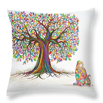 Rainbow Tree Dreams Throw Pillow by Nick Gustafson