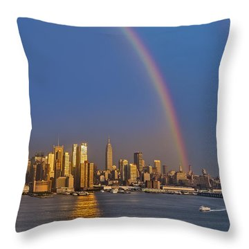 Rainbows Over The New York City Skyline Throw Pillow by Susan Candelario