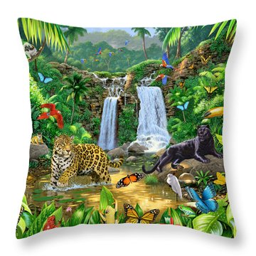 Rainforest Harmony Variant 1 Throw Pillow by Chris Heitt