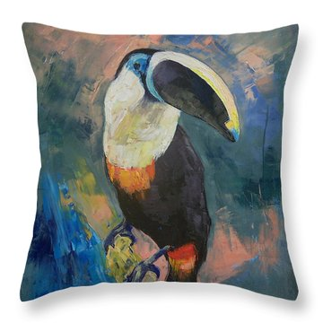 Rainforest Toucan Throw Pillow by Michael Creese