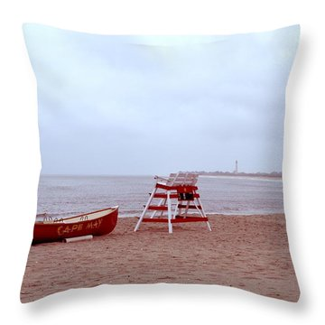 Rainy Day In Cape May Throw Pillow by Bill Cannon