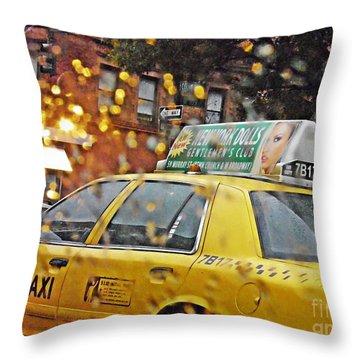 Rainy Day Nyc Throw Pillow by Sarah Loft