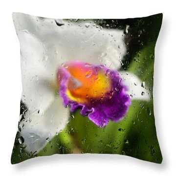 Rainy Day Orchid - Botanical Art By Sharon Cummings Throw Pillow by Sharon Cummings