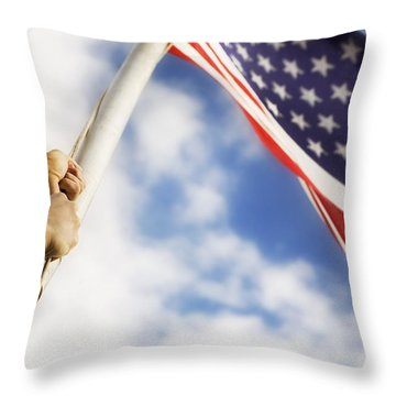 Raising An American Flag Throw Pillow by Chris and Kate Knorr