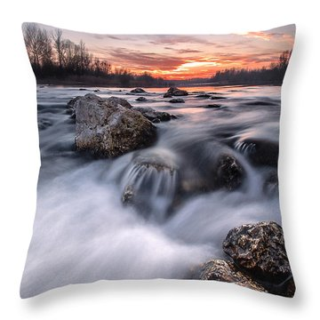 Rapids On Sunset Throw Pillow by Davorin Mance