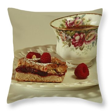 Raspberry Almond Square And Herbal Tea  Throw Pillow by Inspired Nature Photography Fine Art Photography