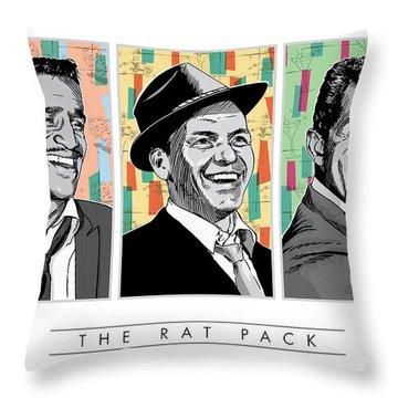 Rat Pack Pop Art Throw Pillow by Jim Zahniser
