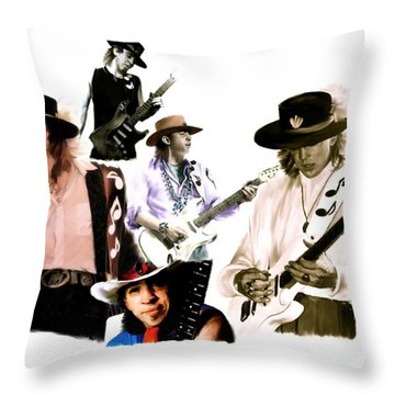 Rave On  Stevie Ray Vaughan Throw Pillow by Iconic Images Art Gallery David Pucciarelli