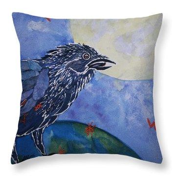Raven Speak Throw Pillow by Ellen Levinson