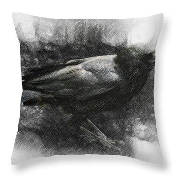Raven Throw Pillow by Taylan Soyturk