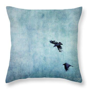 Ravens Flight Throw Pillow by Priska Wettstein