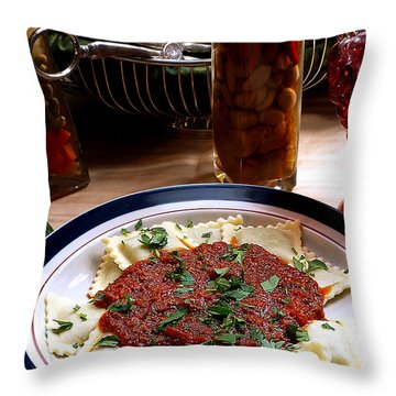 Ravioli Throw Pillow by Camille Lopez