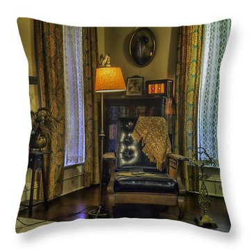 Reading Nook With Leather Chair Throw Pillow by Lynn Palmer