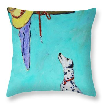 Ready To Go Out Throw Pillow by Xueling Zou