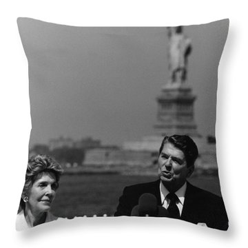 Reagan Speaking Before The Statue Of Liberty Throw Pillow by War Is Hell Store