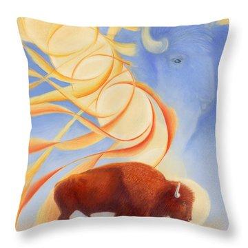 Receiving Buffalo Throw Pillow by Robin Aisha Landsong