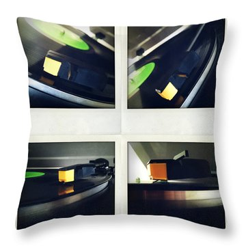 Record Player Throw Pillow by Les Cunliffe