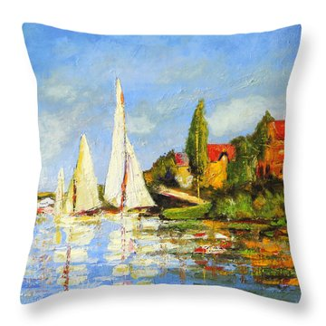 Recreation Of Boating At Argenteuil Throw Pillow by Marti Green