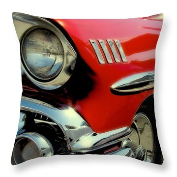 Red 1958 Chevrolet Impala Throw Pillow by David Patterson
