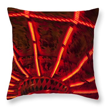 Red Abstract Carnival Lights Throw Pillow by Garry Gay