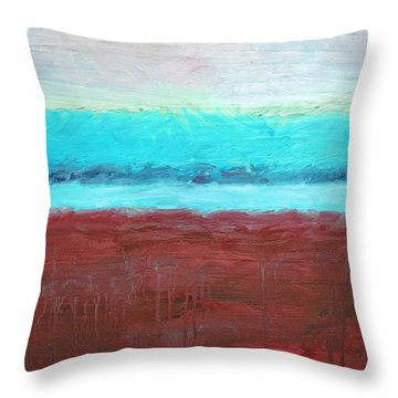 Red And Aqua Get Married Throw Pillow by Michelle Calkins