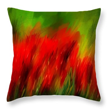 Red And Green Throw Pillow by Lourry Legarde
