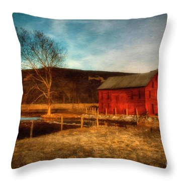 Red Barn At Twilight Throw Pillow by Lois Bryan