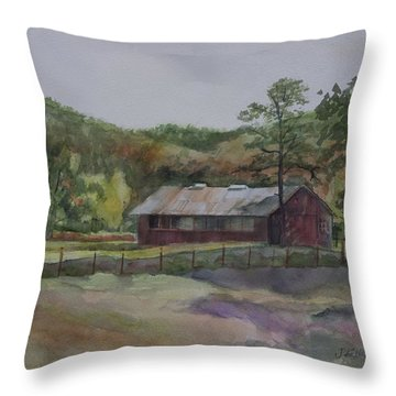 Red Barn Throw Pillow by Janet Felts