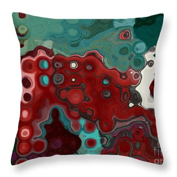 Red Blue Animal Abstract Throw Pillow by Aimelle