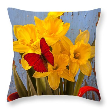 Red Butterfly On Daffodils Throw Pillow by Garry Gay