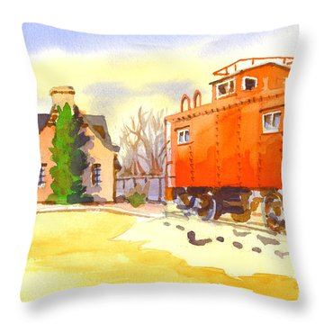 Red Caboose At Whistle Junction Ironton Missouri Throw Pillow by Kip DeVore