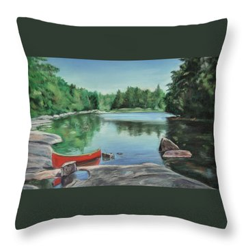 Red Canoe Throw Pillow by Heather Kertzer