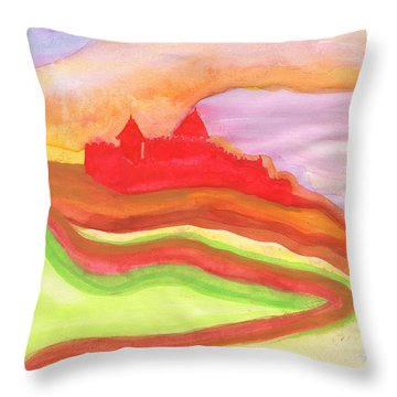 Red Castle Throw Pillow by First Star Art