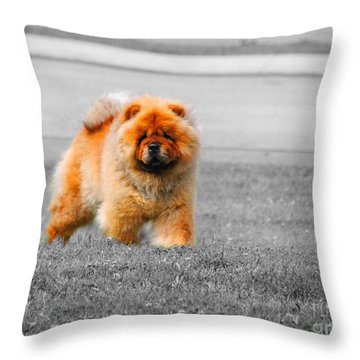 Red Chow Throw Pillow by Jai Johnson